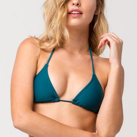 d87f0f99320 NWT Volcom Simply Solid Teal String Bikini Top